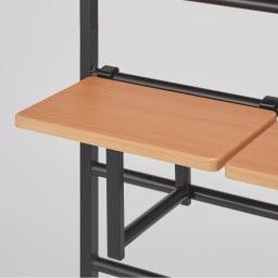 【幅65cm・棚2枚】突っ張り式薄型ブティックハンガーラックシリーズ  (イ)棚板ナチュラル・本体ブラック