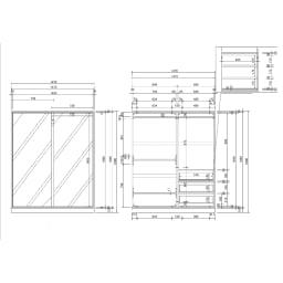【日本製】引き戸式ミラーワードローブ  ハンガー 幅148cm 詳細図