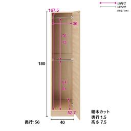 お部屋の天井構造を考慮した壁面ワードローブ ハンガー2段 幅40高さ180cm(高い梁下に)