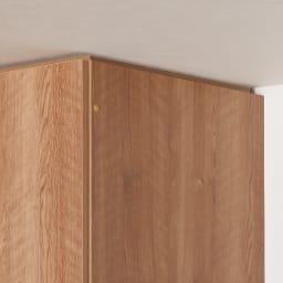 天然木調スタイルミラーワードローブ ハンガー引き出し2杯 幅80cm