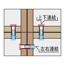 天然木調スタイルミラーワードローブ ハンガー引き出し3杯 幅80cm 連結部分はボルトで固定しており、設置ズレを防止できます。