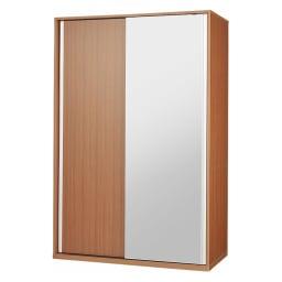 【幅90cm】オールインワン引き戸ミラーワードローブ  (エ)片面ミラータイプ・本体:ダークブラウン ※写真は幅120cmタイプです。