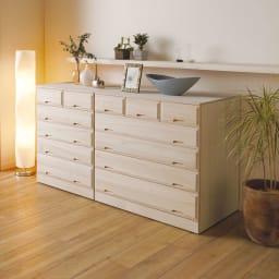 奥行60cmロング総桐クローゼットチェスト 幅100cm・4段(高さ75.5cm) 部屋置きしても美しいインテリア性。