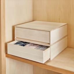 【日本製】総桐押入れ布団台収納 お得な幅44cmタイプ2個セット 重ねても使用可能。押入れの奥行をフル活用して収納できます。 ※写真は幅75cmタイプです。