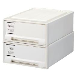 Fits フィッツ収納ケース 押し入れタイプ 奥行74cm 幅39cm 高さ18cm 2個組 (イ)ホワイト(引き出し部不透明)