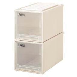 Fits フィッツ収納ケース クローゼットタイプ 奥行53cm 幅30cm 高さ30cm 2個組 (ア)カプチーノ(アイボリー系) 同色2個組でお届けします。