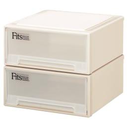 Fits フィッツ収納ケース サイズいろいろ 奥行45cm 幅45cm 高さ20cm 2個組 (ア)カプチーノ(アイボリー系) 同色2個組でお届けします。