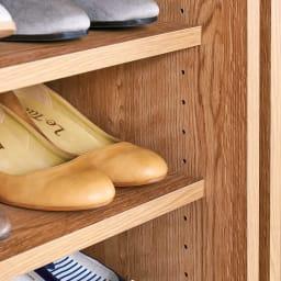 天然木調引き戸シューズボックス ロー(高さ92cm) 幅77cm 棚板は3cm間隔で高さを調節できます。