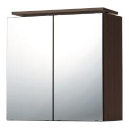 美しく飾れる壁面シューズクローゼット オーダー上置き(2枚扉) 幅60cm高さ26~90cm (ウ)前面:ミラー・本体:ブラウン