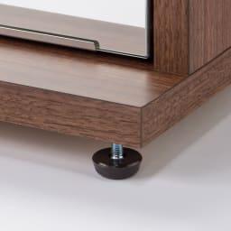 静かに開閉するミラー扉の薄型シューズボックス 3段 幅90cm アジャスター使用例
