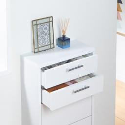 玄関小物ひとまとめチェスト 幅44cm 【引き出し】筆記具など細かい物がしまいやすい浅型引き出し。