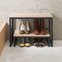 ブルックリン風 玄関ベンチ レギュラー 幅60cm 別売りの踏み台とセット使いすれば、入れ子収納可能。靴が4足置けます。※お届けはベンチのみとなります。