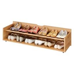 【日本製】下駄箱下木製シューズワゴン ロー(高さ20cm) 幅120cm (ウ)ブラウン(木目)
