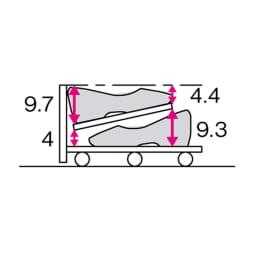 【日本製】下駄箱下木製シューズワゴン ロー(高さ20cm) 幅120cm (単位:cm)
