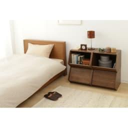 扉付きスタック収納BOX 2個組 ブラウン使用イメージ ※写真は4個の使用例です。お届けは2個組です。