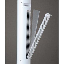 縦型扇風機スリムタワーファン 着脱式フィルターでお手入れ簡単。