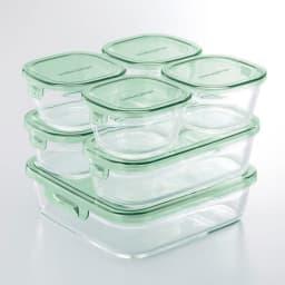 イワキ 耐熱ガラスパック&レンジシステム 7点セット (イ)グリーン 重ね収納でき冷蔵庫でも活躍。