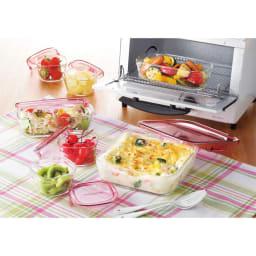 イワキ 耐熱ガラスパック&レンジシステム 7点セット (ア)ピンク レンジ加熱、冷凍保存も可能