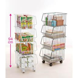 スタッキングバスケット 4個組 (イ)ホワイト、(ア)ブラウン ストック食材も、賞味期限別に分けて管理できる。キャスター部分は高さ約4cm。3段で積み重ねると高さ71.5cmになります。