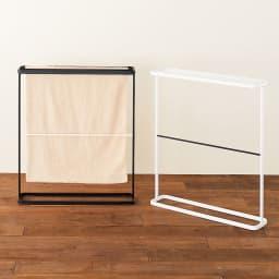 1度に4枚干せる バスタオルハンガー バスタオル干しもひときわ美しく。 左から(ア)ブラック (イ)ホワイト