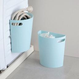 半円マグネットダストボックス2色組 (ア)ブルー 洗濯機ホースの収納にもぴったり。