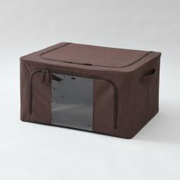 ワイヤー入り窓付き収納ボックス3個組 (ウ)ブラウン