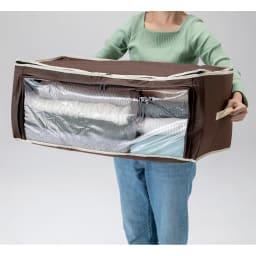 炭入り消臭衣類収納ケース大4個組 丈夫な持ち手付き