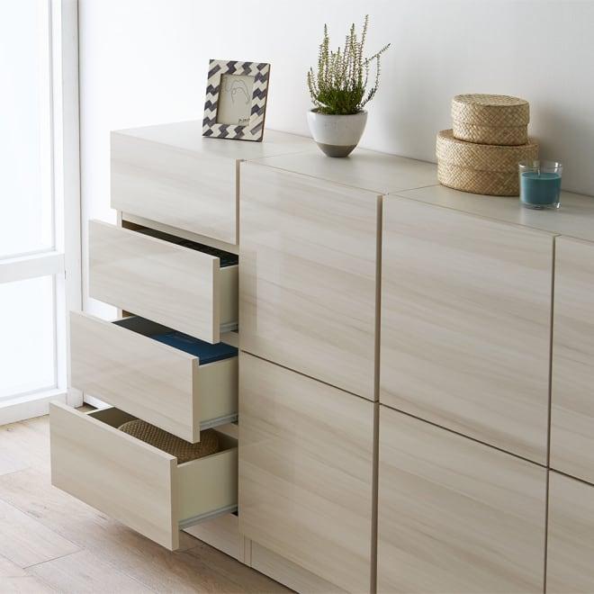 スクエア木目カウンター下収納  引き出し 幅25~45cm(1cm単位オーダー)奥行29cm ぴったりサイズの引き出しで、まるで作り付けのような収納をご自宅に。 ※お届けは引き出しタイプです。