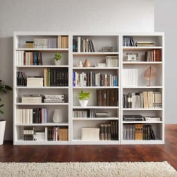 頑丈棚板がっちり書棚(頑丈本棚) ハイタイプ 幅70cm コーディネート例(ア)ホワイト ※お届けは幅70高さ180cmです。