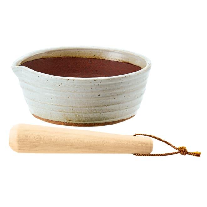 万古焼の溝のないすり鉢とすりこ木 約直径21cm すりこ木にヒモはつきません。