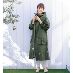 カイリ男女兼用レインコート (ア)カーキ Mサイズ