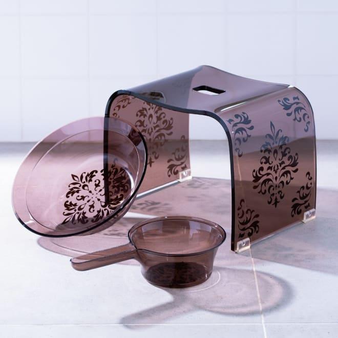 アカンサス バスシリーズ バスチェア&洗面器 (ア)ブラウン ※手桶は商品に含まれません。