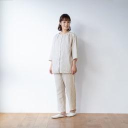 内野(ウチノ)/UCHINO マシュマロガーゼ(R) ノーカラーパジャマ (ア)ライトグレー