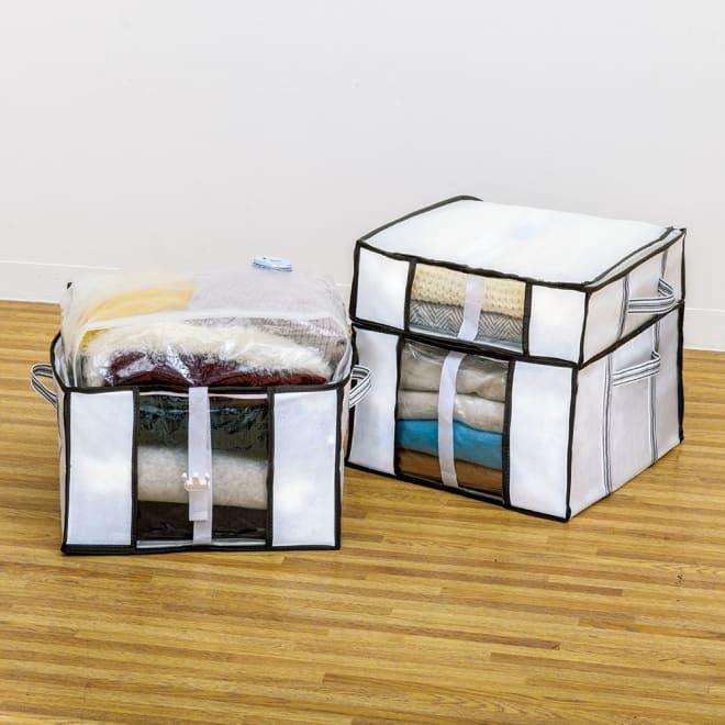 新衣類用圧縮収納ボックス 4個組 コーディネート例