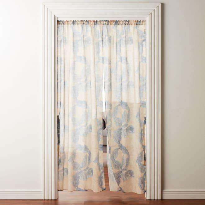 モリス柄モチーフのれん 約幅145丈170 (ウ)アカンサススクロールシアー・ブルー