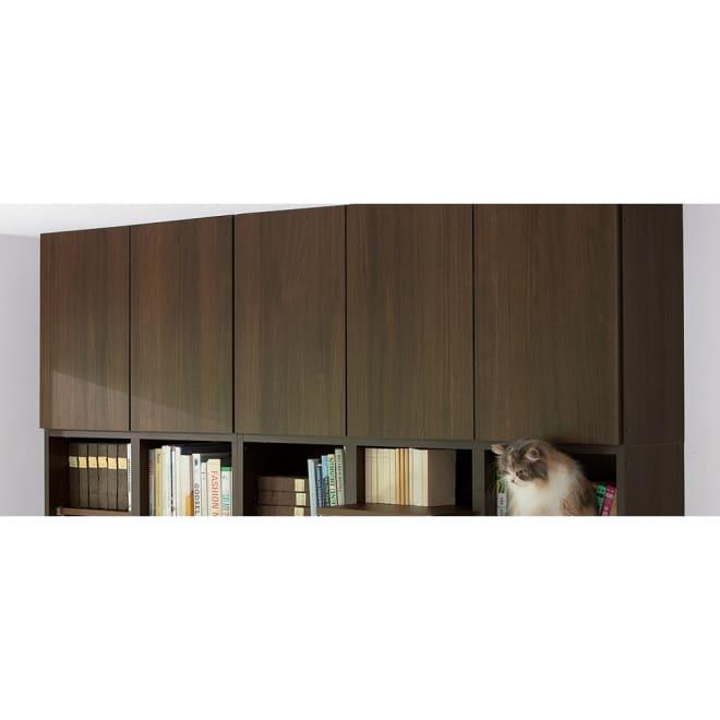 高さサイズオーダー対応 ネコ用ステップ付き本棚 上置き 幅116.5cm高さ26~90cm (ウ)ダークブラウン ※お届けする商品は、写真右の幅116.5cmの上置きのみになります。(本棚本体は含まれません)