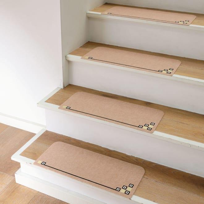 カテキン消臭&はっ水 おくだけ吸着タイルマット 畜光階段マット(15枚組) 階段用も新登場!