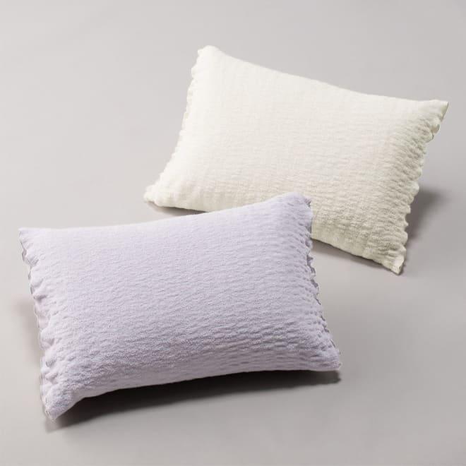ふわふわ感が長く続く 新・くしゅくしゅ&ふわふわタオル寝具シリーズ ピローケース普通版 上から(ア)ホワイト (イ)グレー