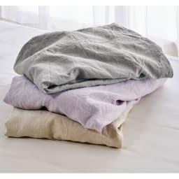 洗える本麻シリーズ ボックスシーツ 上から(ウ)グレー(イ)パープル(ア)ベージュ 幅広の生地を使用して仕立てているため、ハギのない美しい仕上がりが自慢。