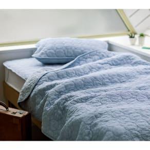 掛け敷き枕カバー3点セット(パシーマ(R)EXシリーズ 先染めタイプ 夏の限定色デニムブルー シングルセット) 写真