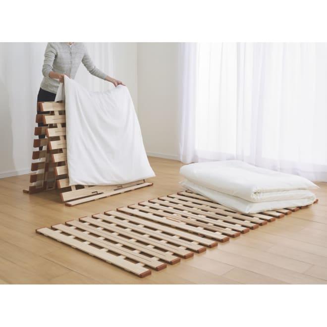 気になる湿気対策に薄型・軽量桐天然木すのこベッド 3つ折りタイプ 涼しい!軽い!頼れるすのこでドライな寝心地。