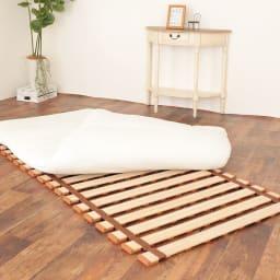 気になる湿気対策に薄型・軽量桐天然木すのこベッド ロールタイプ 画像はシングルサイズ