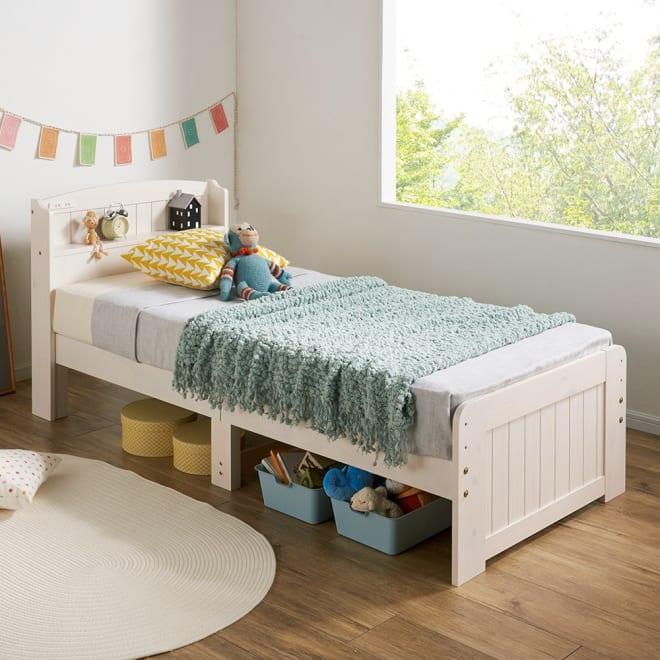 高さ2段タイプ ナチュラルカントリーなすのこベッド ポケットコイルマットレス付き (ア)ホワイトウォッシュ セミシングルは、お子様の初めて用にも。