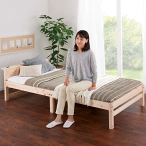 国産ひのき天然木すのこシングルベッド 棚あり(ポケットコイルマットレス付き) 写真