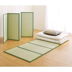 【2点以上ご購入で5%OFF!】軽くて干しやすい4つ折り国産い草畳マット 写真