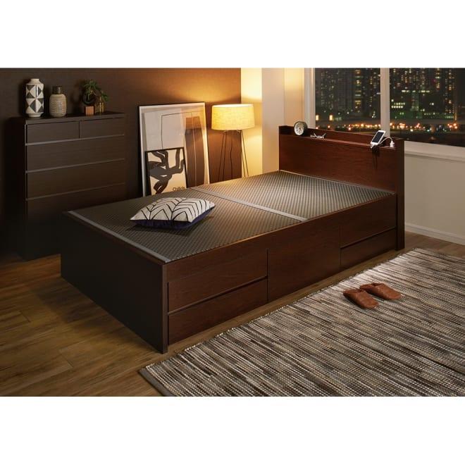 美草畳収納付きベッド 棚あり (ア)ブラック ※写真はセミダブルサイズです。