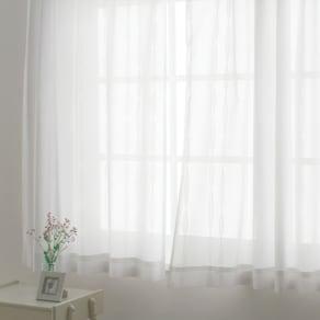 幅130cm×丈88cm(2枚組)(形状記憶加工多サイズ・防炎・UV対策レースカーテン) 写真