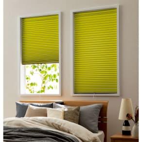 対応窓幅 60~62cm(生地幅59cm)丈91~110cm(遮光・断熱ハニカム構造の小窓用シェード) 写真