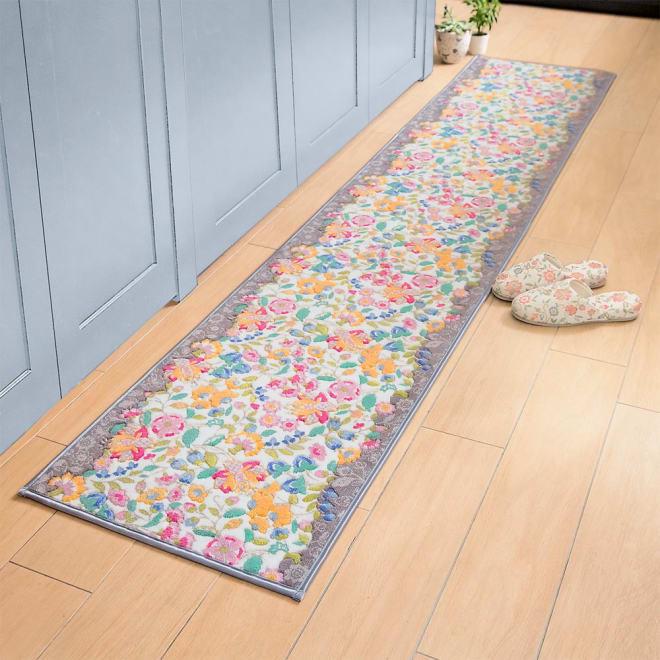 MINTON キッチンマット〈ガーデンナチュール〉 (ア)グレー系(写真は約50×240cm)