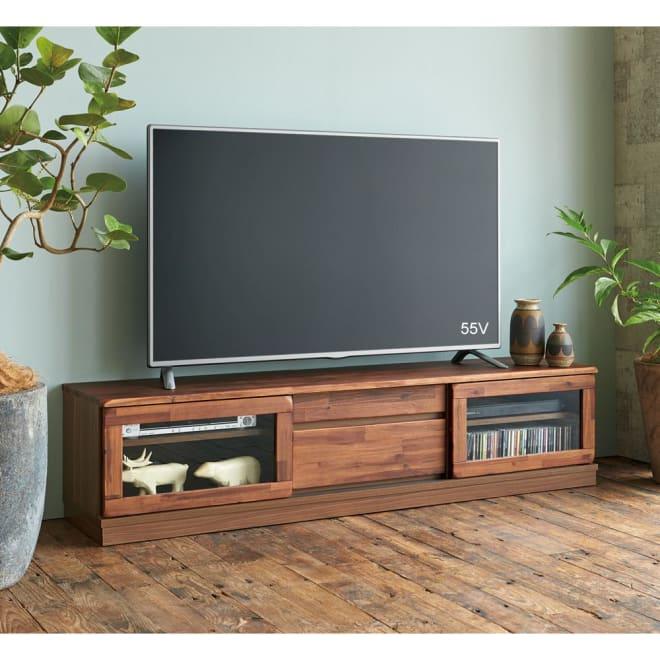 ナチュラルヴィンテージ調シリーズ テレビ台 幅171cm 商品イメージ アカシア無垢材の木目を活かしたテレビ台です。